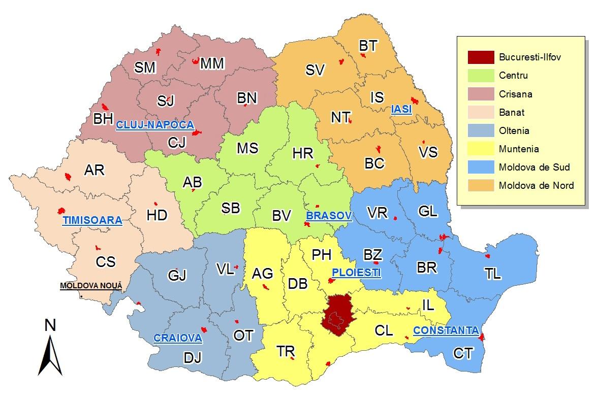 Hartă Regiuni Romania Centrul Național De Informare și