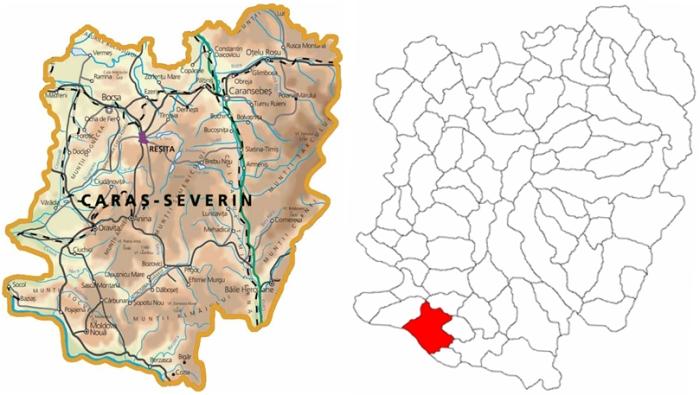 Poziţionarea în judeţ a localităţii Moldova Nouă